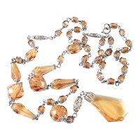 Art Deco Topaz Glass Bead Lavalier Necklace