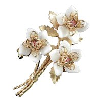 COROCRAFT Coro Craft Flower Blossom Brooch Pin Rhinestone