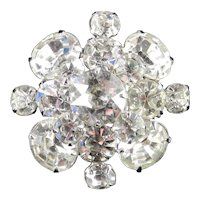Kramer Domed Rhinestone Brooch Pin Rhodium Plate