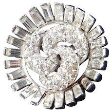 Ledo Polcini Rhinestone Brooch Pin Rhodium Plate