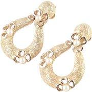 Trifari Faux Pearl Dangle Door Knocker Earrings