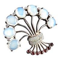 Reja Sterling Silver Rhinestone Art Glass Faux Moonstone Brooch Pin