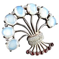 Reja Sterling Silver Rhinestone Art Glass Faux Moonstone Brooch Pin