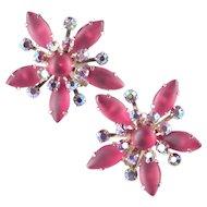 Large Starburst Rhinestone Earrings