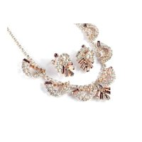 Vintage Rhinestone Festoon Garland Swag Necklace Earrings Demi Parure Set