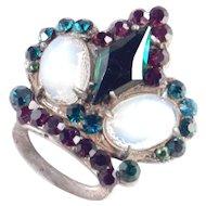 Sterling Silver Rhinestone Faux Moonstone Crown Brooch Pin