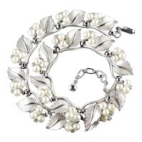 Trifari Rhinestone Faux Pearl Leaves Necklace