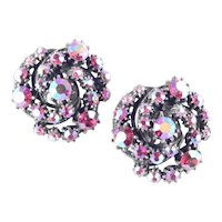 Domed Spiral Pinwheel Rhinestone Earrings