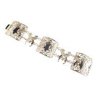 Lucien Piccard Heraldic Knight Lion Crest Link Bracelet
