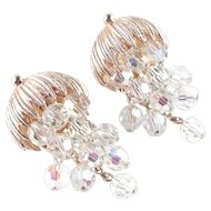 Crystal Glass Bead Dangle Chandelier Earrings