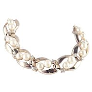 Trifari Rhinestone Faux Pearl Bracelet