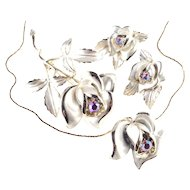 Florenza Rhinestone Enamel Mist Rose Necklace Earrings Brooch Pin Parure Set
