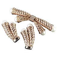 Basket Weave Woven Mesh Faux Pearl Brooch Pin Earrings Demi Parure Set