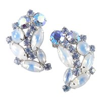 Rhinestone Glass Moonstone Cabochon Climber Earrings