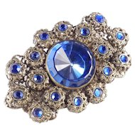 Czechoslovakia Filigree Rhinestone Brooch Pin