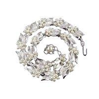 Trifari Rhinestone Faux Pearl Necklace