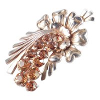 Large Art Glass Rhinestone Flower Spray Fur Clip