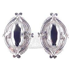 Whiting & Davis Hematite Glass Earrings
