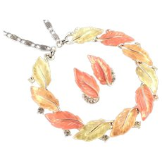 Lisner Autumn Leaves Thermoset Rhinestone Necklace Earrings Demi Parure Set
