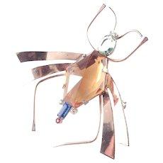 Coro Sterling Craft Large Silver Vermeil Art Glass Rhinestone Bug Brooch Pin