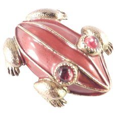 HAR Enamel Frog Brooch Pin Glass Cabochons