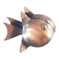 Rebajes Copper Double Fish Brooch Pin
