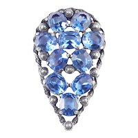 Art Deco Era Large Blue Art Glass Rhinestone Dress Clip