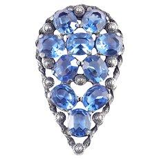 Art Deco Era Large Blue Art Glass Rhinestone Dress Clip