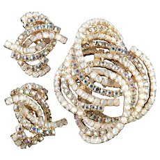 Alice Caviness Rhinestone Faux Moonstone Brooch Pin Earrings Demi Parure Set