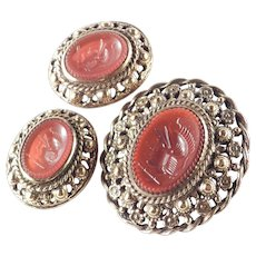Castlecliff Faux Carnelian Molded Art Glass Intaglio Brooch Pin Pendant Earrings Set