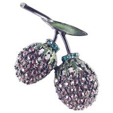Hollycraft Rhinestone Enamel Berry Brooch Pin