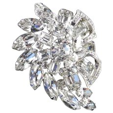 Eisenberg Layered Rhinestone Brooch Pin Rhodium Plate