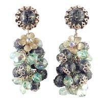 Bead Glass Rhinestone Long Cluster Dangle Earrings