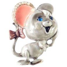 HAR Enamel Rhinestone Faux Seed Pearl Figural Mouse Brooch Pin