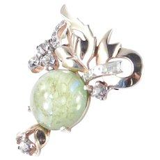 Mazer Bros Rhinestone Art Glass Cabochon Brooch Pin