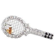 Dorothy Bauer Rhinestone Sports Tennis Racket Ball Brooch Pin