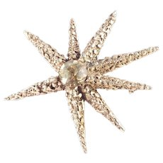 Capri Dentelle Rhinestone Atomic Starburst Brooch Pin Pendant