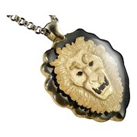 Lucite Encased Lion Pendant Necklace