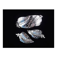 Whiting & Davis Hinged Double Leaf Cuff Bracelet Earrings Demi Parure Set