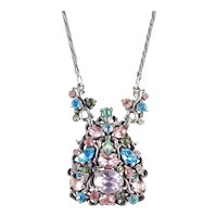 Hollycraft Rhinestone Pendant Necklace Copr. 1950