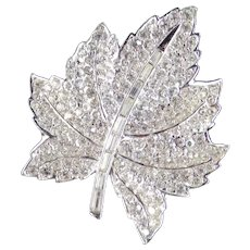 Marcel Boucher Reversible Day Night Rhinestone Maple Leaf Ladybug Brooch Pin
