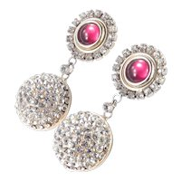 Lancetti Art Glass Cabochon Rhinestone Pendant Dangle Earrings