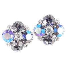 Weiss Large Rhinestone Earrings Big Stones