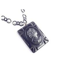 Bakelite Cameo Pendant Celluloid Chain Necklace