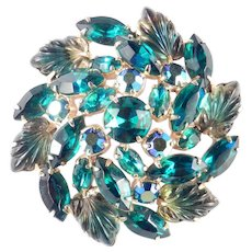 Large Domed Rhinestone Molded Glass Brooch Pin