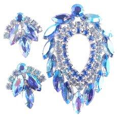 Sarah Coventry Juliana D & E Blue Lagoon Rhinestone Brooch Pin Earrings Demi Parure Set