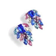Vintage Thelma Deutsch Rhinestone Fashion Earrings