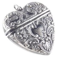 Sterling Silver Repousse Heart Pendant Locket Box