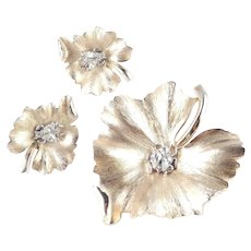Trifari Leaf Rhinestone Bug Brooch Pin Earrings Demi Parure Set