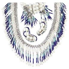 Hobe Bugle Seed Tube Bead Faux Pearl Fringe Pompom Necklace Bracelet Earrings Parure Set